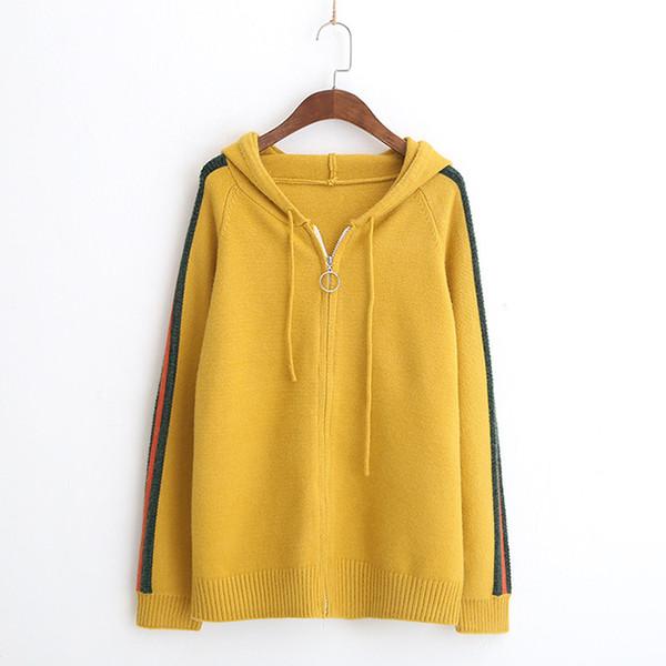 Solid color casual Zipper hood long sleeve mori girl loose sweater Cardigan 2018