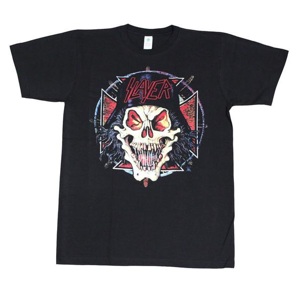 SLAYER Hell Skull Men's T-Shirt Black New Fashion T Shirt Graphic Letter Tee Shirt for Men O-Neck Tops Male Basic Models