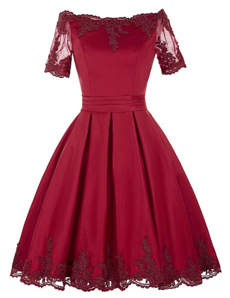 Red Lace Formal Evening Dresses Women's Ball Gown Short Sleeve Bridal Gown Special Occasion Prom Bridesmaid Party Dress