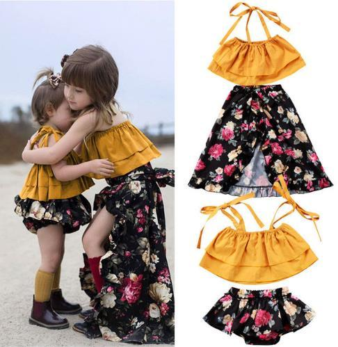 Pretty Toddler Baby Kids Girls Sisters Clothes Set Summer Fashion Sisters Matching Floral Tops Vestido Dress Outfits Set 0-6T