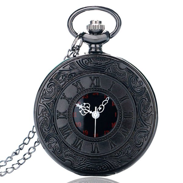 Classical Black Hollow Case Roman Number Dial Display Quartz Pocket Fob Watches with Necklace Chain for Men Women Best Gift