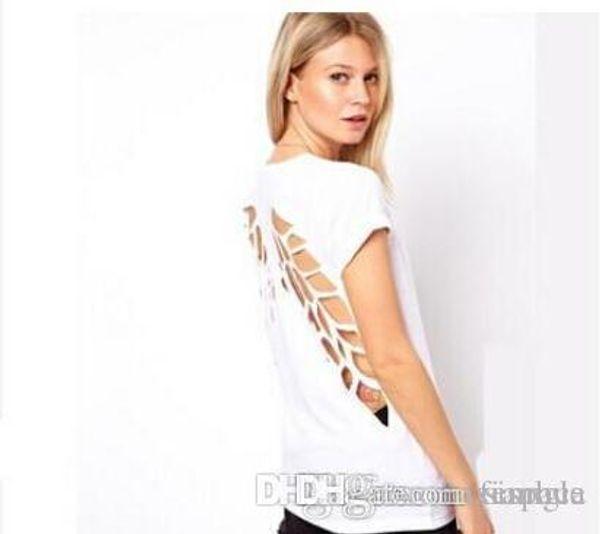 2016 neue Mode Frau kleidung t-shirt Backless Angel Wings frauen Weiß Schwarz Shorts Tops Tees blusen für frau freies verschiffen