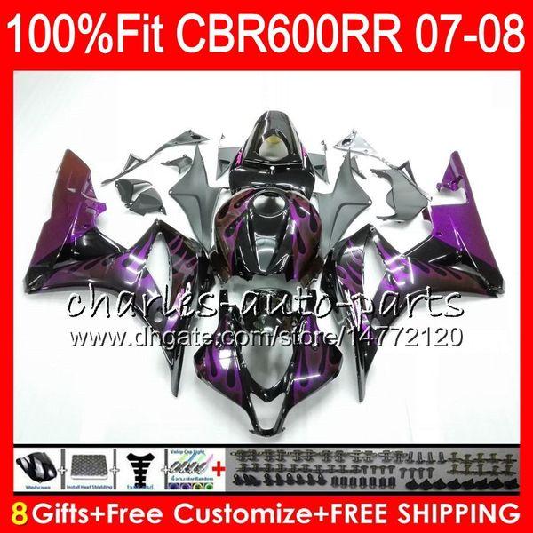 Injection For HONDA CBR600F5 CBR 600 RR Purple flames 07 08 CBR600 RR 2007 2008 44HM156 CBR600RR CBR 600F5 CBR 600RR CBR600 F5 07 08 Fairing