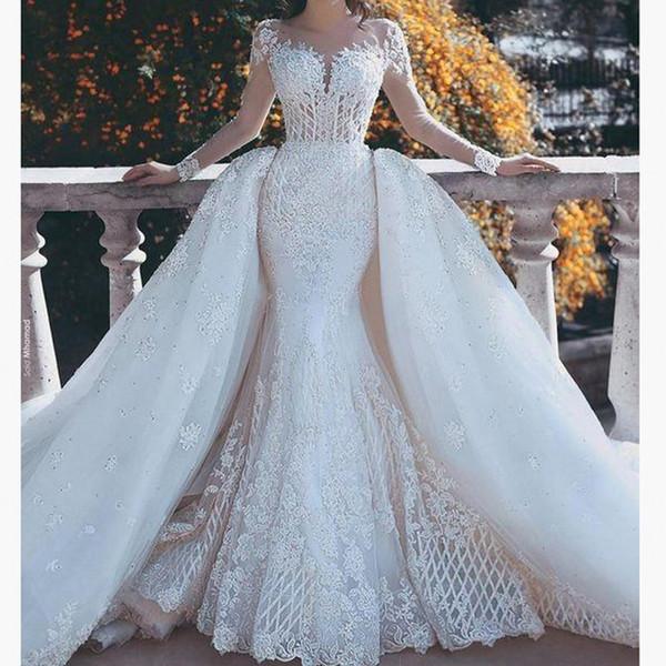 Compre Vestido De Novia Del Diseñador Del Líbano Vestido De Noiva Bata De Mairee Vestidos De Novia Falda Desmontable 2 Estilos Vestidos De Novia De