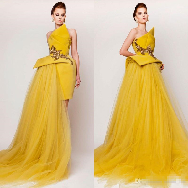 Modest 2019 Scalloped Satin And Tulle Dresses Evening Wear Cheap Embroidery Peplum Long Evening Gowns Custom Made China EN11161