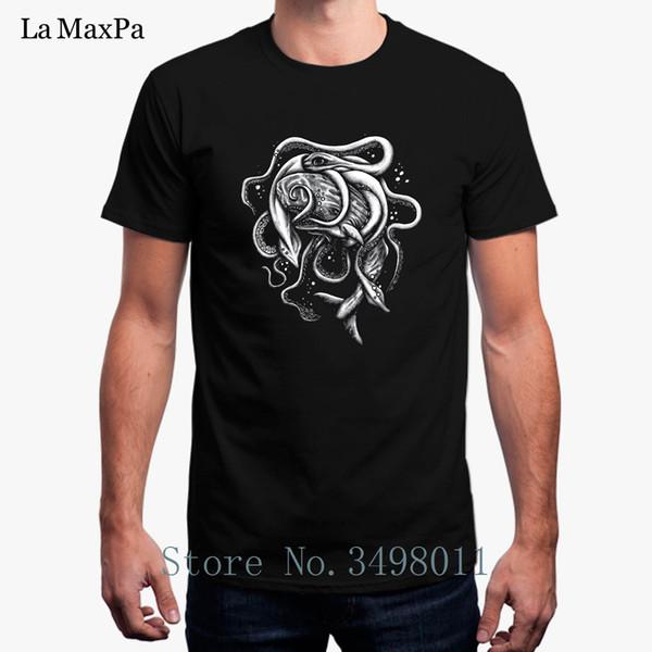 Baskı Balina Ve Kraken Savaş T-Shirt Erkekler Için Yaz Pamuk Basit Tee Gömlek Streetwear Boyutu S-3xl Mens T Gömlek Kısa Kollu