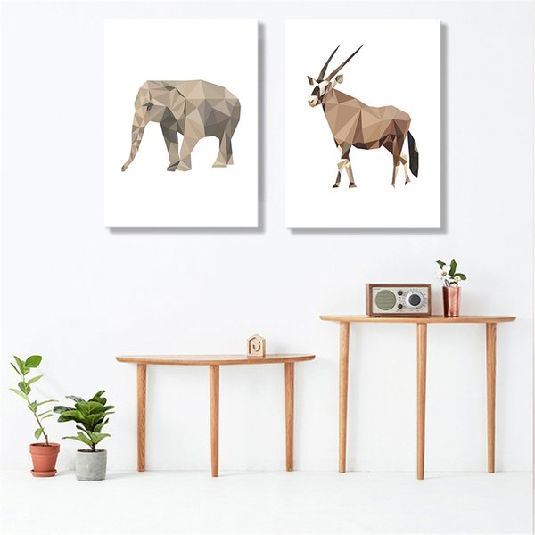 Abstract Geometry A4 Prints Wall Art Pictures Animals Cow Monkey Canvas Paintings Decor Home Children Room Modern Nordic Posters