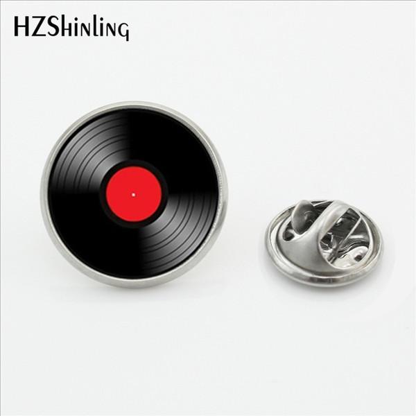 2017 Nuovo design Vinyl Record Collar Pin Spilla Round CD Pin Metallo DJ Spilla Pins Vetro Cabochon Pins in acciaio inox