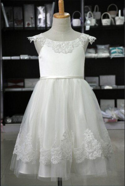 Kids Formal Wedding Occasion Dress Flower Girl Dress With sash Brithday Lace Princess Kids Full Length SKirt M169