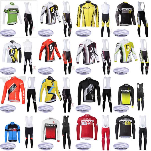 Ciclismo Jersey imposta Inverno Fleece Pro Team Scott team Ciclismo Abbigliamento Ropa ciclismo a maniche lunghe Set Gel Pad Abbigliamento da bicicletta j102701