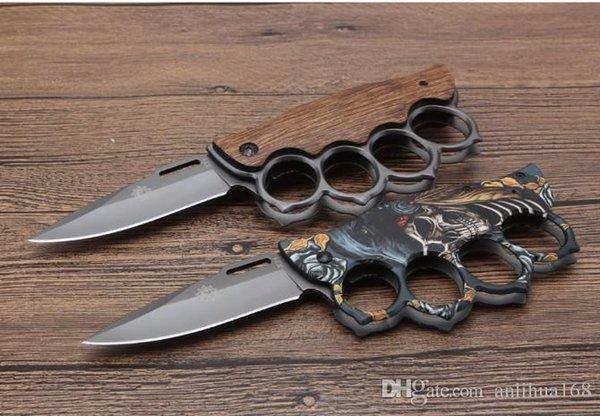 heißes Verkauf Knuckle Klappmesser X71 2 Stile 3Dpicutre von Oberfläche und Holzgriff campingoutdoor Werkzeuge EDC Taschenwerkzeug Großhandelspreis