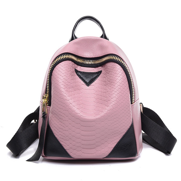 wholesale Luxury Alligator Genuine Leather Backpacks Women Brand Designer Double Shoulder Bags For Teenage Girls Zip Tassel Female Mochila