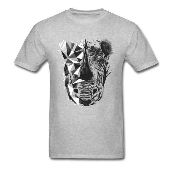 Das letzte weiße Nashorn-T-Shirt Männer-T-Shirt Baumwolle T-Shirts Abstarct Kunst-Designer-Kleidung Tier gedrucktes oberstes geometrisches T-Stück