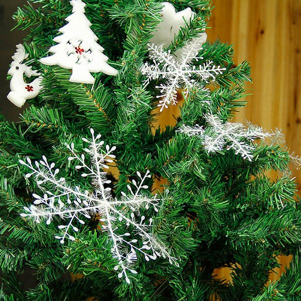 White Plastic Snowflake Christmas Ornament Tree Window Snow Flakes Christmas Decorations For Home Party Size 6-30CM