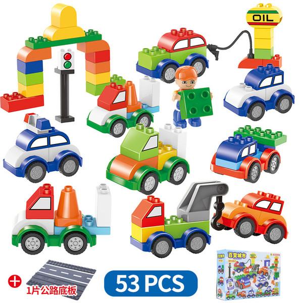 53 unids / set Coches Bloques de Construcción 53 unids + 1 rode placa digital tren coche niños juguetes ladrillos Inteligencia Educativa Favor del Partido Seguro AAA1273
