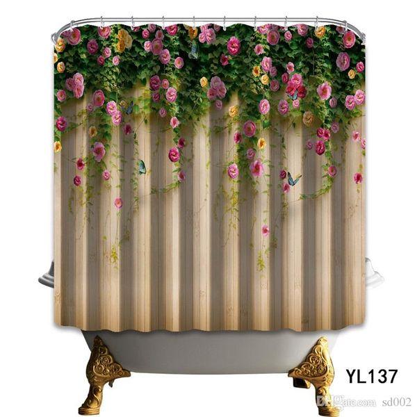 Flower Board Shower Curtain 3D Impianto di stampa digitale Serie Beautiful Butterfly Fiber Fiber Water Proof Forniture per bagno 34ny3 bb