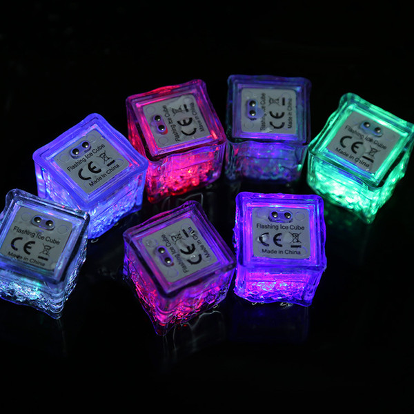 top popular LED Ice Cubes Lights Party Night light Slow Flashing 7 Color Changing led lamp Crystal Cube Valentine's Day Party Wedding Holiday light 2019