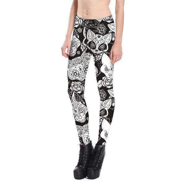 Womens Ethnic Floral Skull Thin Tight Athletic Yoga Pants Leggings