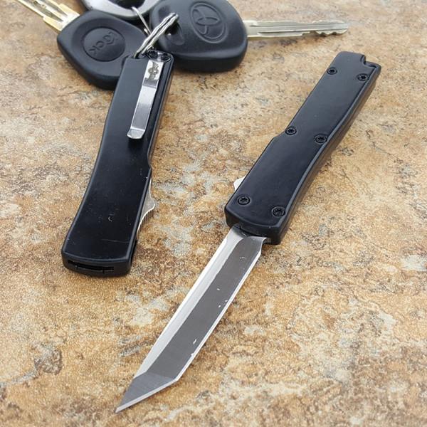 la mini llavero hebilla llavero negro auto cuchillo aluminio doble acción satinado 440C tanto cuchilla cuchillo plegable cuchillos de regalo de navidad