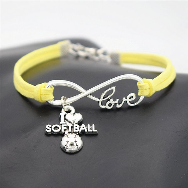 AFSHOR Punk Sport Argento Antico I Love Softball Ciondolo Charm Bracciali in pelle per donna Uomo Softball Team regalo Infinity Love Jewelry