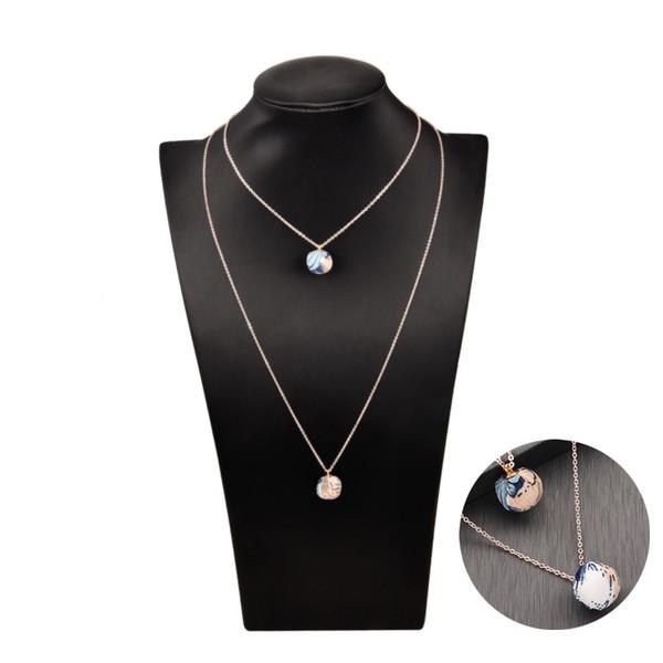QIMING bunten Stoff Ball lange Halskette doppelte Kette geschichtet schöne Boho Schmuck Zubehör Choker Vintage Halsketten