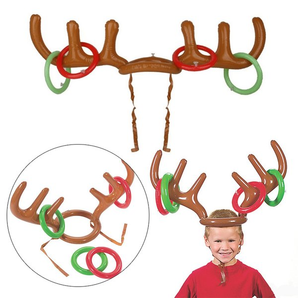 Christmas Toy Children Kids Inflatable Balloons hats Santa Funny Reindeer Antler Hat Ring Toss Xmas Holiday Party Headgear Hat Rings Red