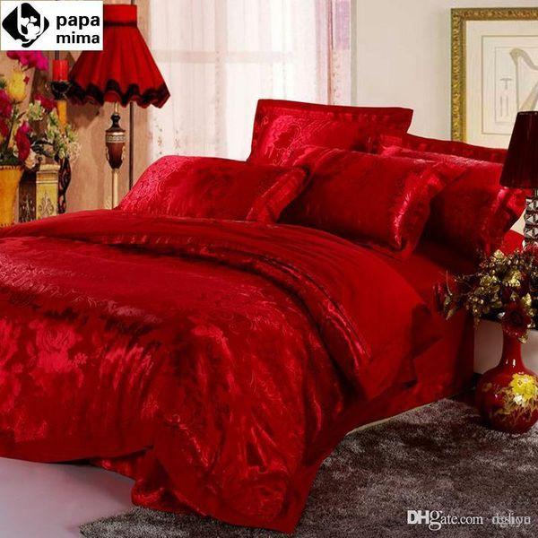 Wholesale-luxurious red bedding set 4pc wedding satin duvet quilt cover king queen size comforters bedlinen bedsheets silk cotton bedcover