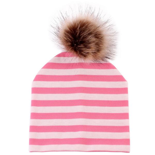 Adisputent Parent-child Wear Caps Double-layer Cotton Caps Fur Ball Hat Autumn Winter Models Warm Fashion Stripe Hat Beanie