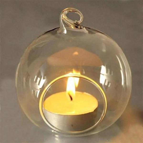 Verre Cristal Suspendus Bougeoir Chandelier Maison De Mariage Partie Dîner Décor rond en verre air plante bulle cristal boules Livraison gratuite