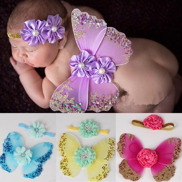 Moda Bebek Kız Hairband + Melek Kanatları Yenidoğan Fotoğraf Prop Setleri Bebek Kelebek Kostümleri Aksesuarları Şapkalar Doğum Günü Hediye