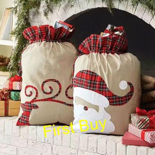 10pcs/lot new arrival Christmas burlap plaid santa sack drawstring gift bags monogram personalized large santa sack candy bags