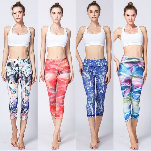 Women Leggings Capris Sports Pants Printing Girl Skinny Stretchy Yoga Wear Pants Lady Runner Casual Soft Capris Trousers