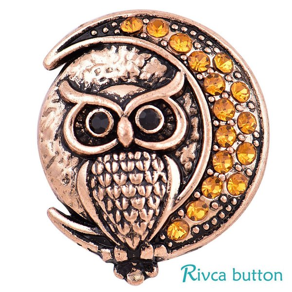 2018 Rivca Snap Button Jewelry NOOSA Newest DIY 18mm Mixcolour owl crab Crown Snap Button Fit Charm leather alloy fashion Bracelet jewelery