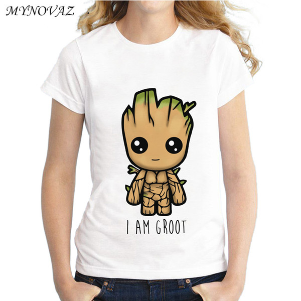MYNOVAZ I Am Groot T Shirt Women Guardians of the Galaxy Tree Monster Cute  Cartoon Sweet Kawaii Tee Tops Colored Printed S-4XL 7ad483502