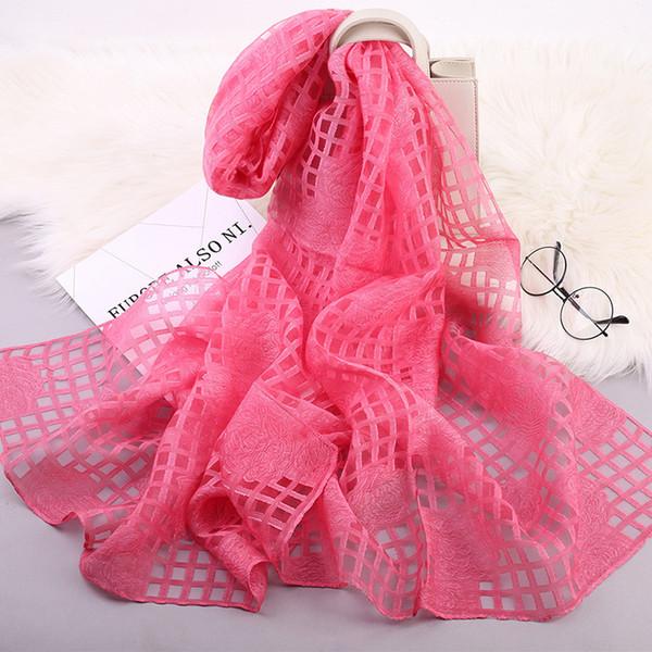 Wholesale 17 Colors Organza Hollow Plaid Designer Scarf 70*190cm Women Hijab Shawls Pashmina Head Wrap Scarves Table Blanket Beach Towel
