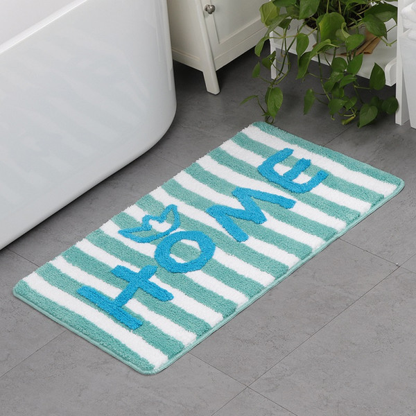 Fashion Letters Printed Home Striped Welcome Floor Mats Anti-Slip Bath Mat Door Floor Mat Cute Children Mat Home Living Room Decoration
