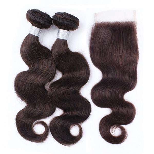 Raw Virgin Indian Wavy Human Hair Extensions 2 Bundles With Lace Closure Color 2 Dark Brown Body Wave Hair Bundles