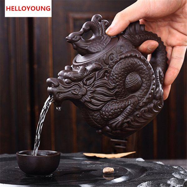 CJ255 Keramik-Teekanne, traditioneller chinesischer Teekanne Dragon und Phoenix Wasserkocher Premium Tee-Ei Lila Teeset