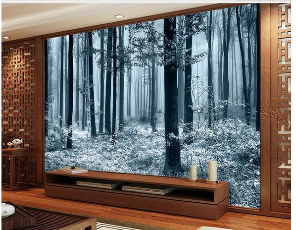 Die besten HD schwarz-weiß Bambus TV Hintergrund Wand modernen Wohnzimmer Tapeten