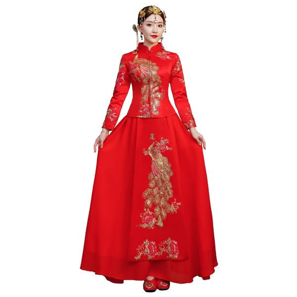 Shanghai Hikayesi 2018 Orient gelin Kırmızı phoenix Nakış Elbisesi kadınlar için Çin Düğün elbise iki parçalı set xiuhe elbise