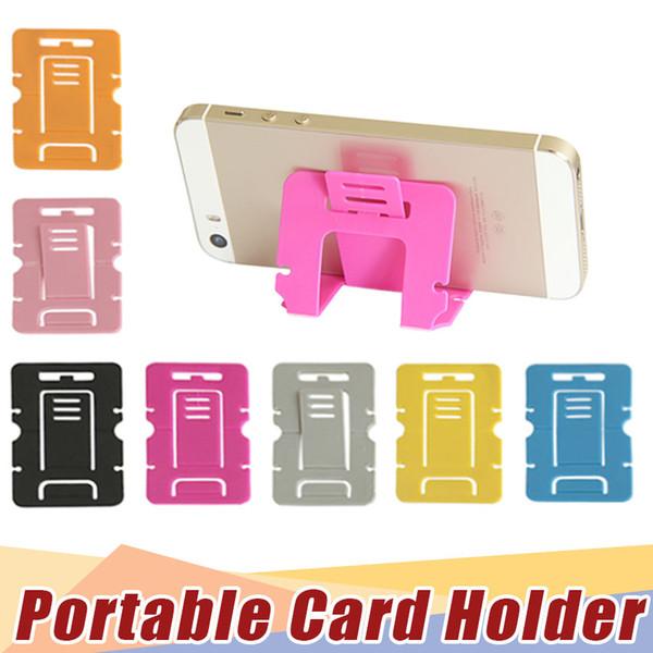 Cor dos doces Titular Do Telefone De Plástico Dobrável Dual Telefone Móvel Suporte Universal Para samsung apple htc cartão de suporte de fábrica por atacado