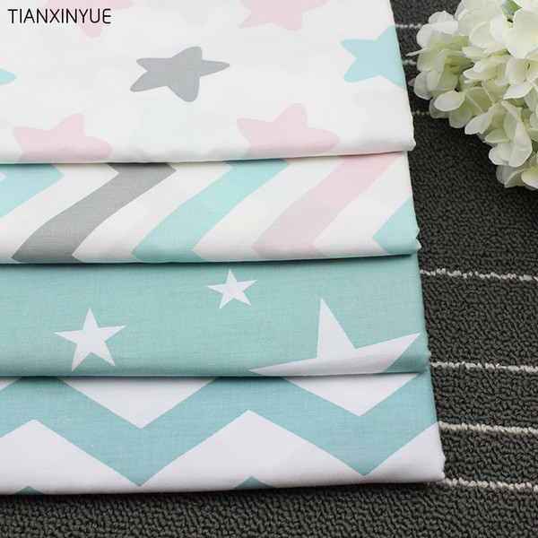 4pcs/lot 40cm*50cm Stars and Chevron Cotton Fabric for Home Textile Patchwork sewing Baby Material Quilting Bedding Tecido