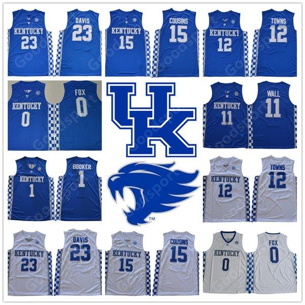 2018 Kentucky Wildcats COLLEGE NCAA Aaron Fox 0 Devin Booker 1 Anthony Davis 23 jerseys DeMarcus Cousins 15 JONH WALL 11 Towns 12