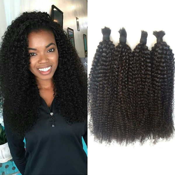 100% Afro Kinky Bulk Human Hair 4 Bundles Cambodian Kinky Curly Hair Bulk for Braiding Can be Dyed FDshine