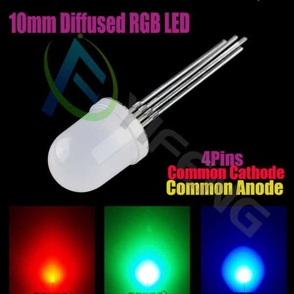 10 pcs = Full colors Diffused RGB LED, 10mm, common anode Common Cathode diode