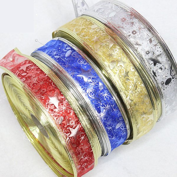 50mm Glitter Organza Ribbon Bow Christmas Tree Decoration Gift Decor Craft Christmas Decoration For Home Gift gift wrapping