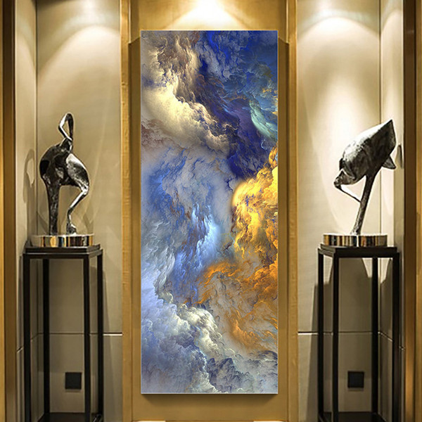 top popular WANGART Abstract Colors Unreal Canvas Poster Blue Landscape Wall Art Painting Living Room Wall Hanging Modern Art Print Painted 2021