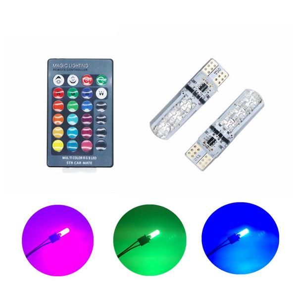 Edison2011 12V LED T10 W5W 5050 SMD 1.2W Auto RGB LED Innenkuppel Wedge Leselicht Stroboskop Lampe Mit Fernbedienung