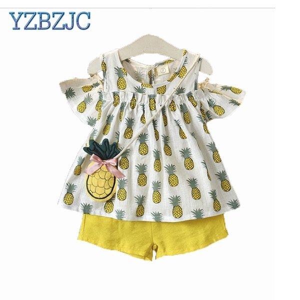 YZBZJC Children's wear 2018 summer new kids girl pineapple off shoulder dress doll shirt + hot pants two-piece suit clothes
