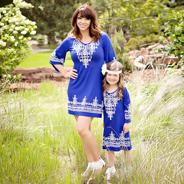 Mutter Tochter Kleider Familie Look Matching Outfits böhmischen 2 Color Lace Patchwork Beach Dress Baby Girl und Mom Kleidung